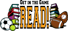 Get in the Game, READ! Summer reading slogan.